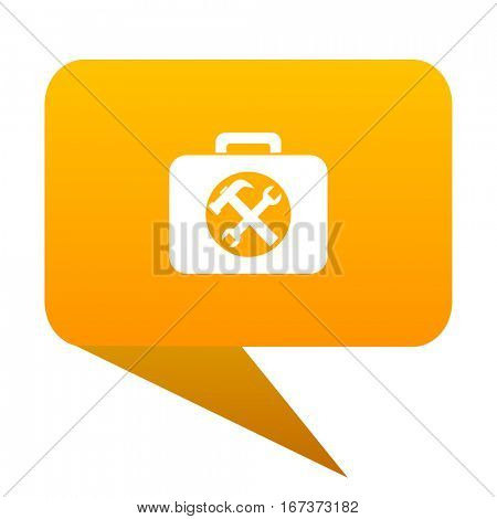 toolkit orange bulb web icon isolated.