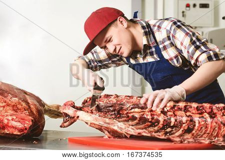 Worker at a meat factory cutting big piece of meat
