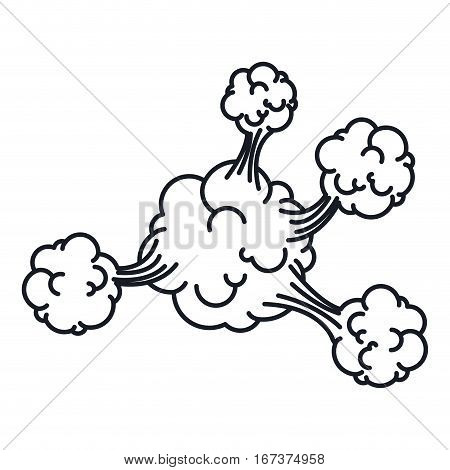 silhouette explosion steam cloud with cumulus vector illustration