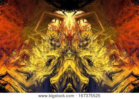 Abstract Fiery Chimera. Fantasy Fractal Background. Psychedelic Digital Art. 3D Rendering.