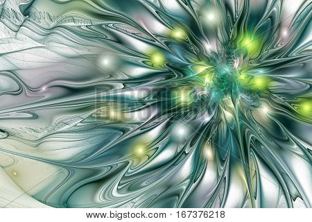 Abstract Exotic Flower With Glossy Petals. Fantasy Fractal Design In Green, Yellow And Grey Colors.