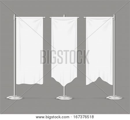 Realistic Template Textile Banner Flag Set Fabric Canvas Empty Mock Up for Awards or Your Business. Vector illustration