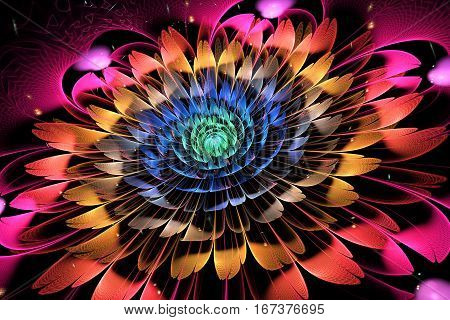 Abstract Exotic Flower With Textured Petals On Black Background. Fantasy Fractal Design In Bright Bl