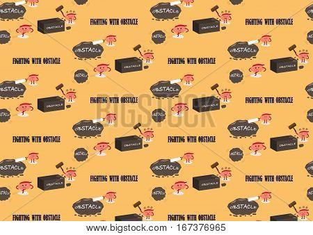 brain cartoon characters vector illustration pattern background showing different actions and emotion faces fighting with obstacles (conceptual image about person who never give up and fight to win)