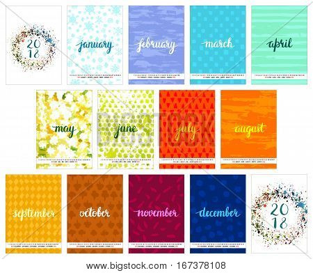 Scalable vector calendar for year 2018 with watercolor textures, representing each month's weather, brushpen lettering, cover and back cover, all on one page. Lots of space for text and logos