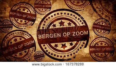 Bergen op zoom, vintage stamp on paper background