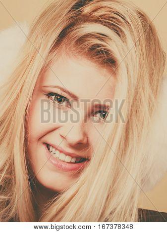 Closeup Portrait Of Attractive Blonde Woman Face