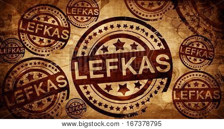 Lefkas, vintage stamp on paper background