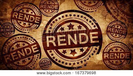 Rende, vintage stamp on paper background