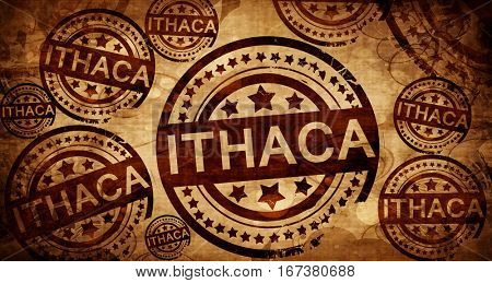 ithaca, vintage stamp on paper background