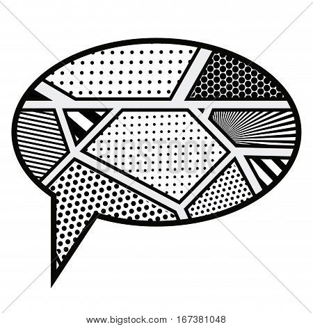 monochrome oval callout for dialogue in pop art vector illustration