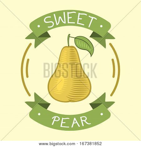 Fresh pear badge icon organic food. Sweet vegetarian fruit agriculture isolated on white. Vitamin natural snack color delicious dessert. Refreshment dish nutritious.