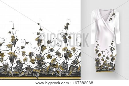 Vector seamless pattern of vines with leaves and berries on classic women's dress mockup. Hand-drawn ornate pattern with an example of application.