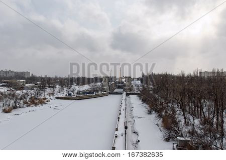 Repairs Airlock Sluice Navigation Canal Are Conducted In Winter In The Snow