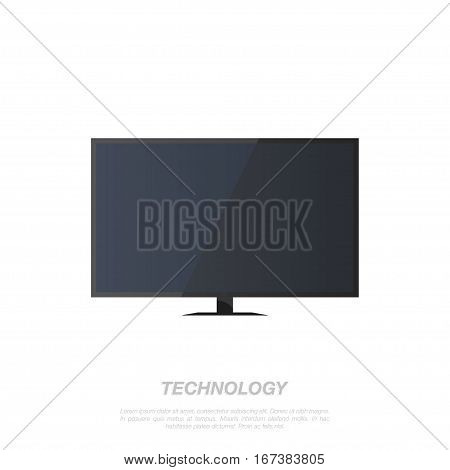 TV screen lcd on a white background. Flat vector illustration EPS 10.