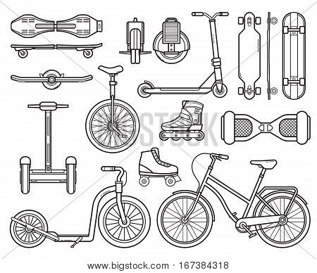 Collection of alternative city transport and urban wheels. Personal transportation gadgets. Electric scooters, balance boards, skateboards, bicycle and kick bike. Modern eco friendly vehicles set.