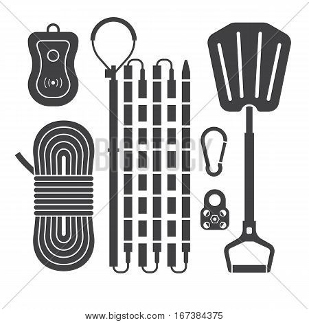 Avalanch rescue kit outline icons including probe, snow shovel, rope, beeper and carabiners in black and white. Alpinism protective equipment vector silhouette set.