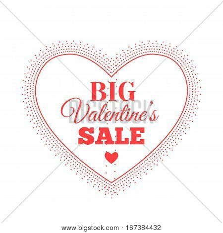 Valentines day sale offer, banner template. Vector illustration in red colour with lettering on white background. Valentines Heart sale tags. Big Valentines Sale. Shop market poster design.