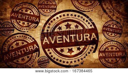 aventura, vintage stamp on paper background