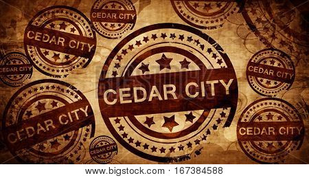 cedar city, vintage stamp on paper background