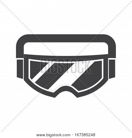 Snowboard or ski goggles vector icon. Skiing or snowboarding face protection glasses in outline design. Ideal for website, applications, labels and logo creating.