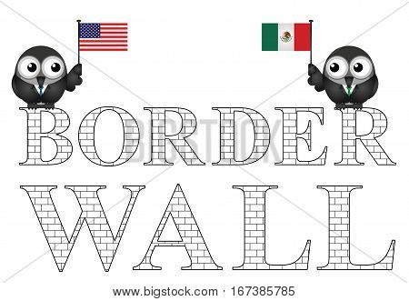 Representation of the USA border wall with Mexico isolated on white background