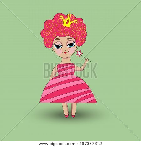 Curly little girl princess in pink dress with crown on her head and magic wand in hand. Vector illustration.