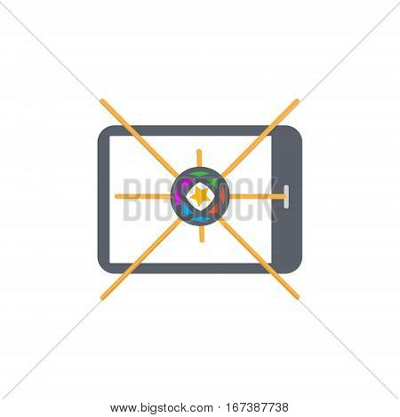 Vector icon or illustration showing mobile internet marketing and advertising with star in outline design style