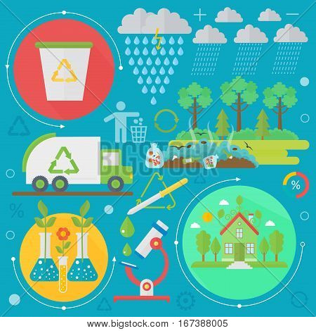 Environmental Protection, Ecology concept Banners Set in modern Flat Style. Ecology Green Energy and save planet infographics design, web elements, poster banners. Vector illustration