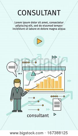 Management consulting banner. Consultant in business suit and tie making a presentation near whiteboard with infographics. Shows business graphs. Business consulting, business strategy concept.