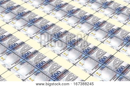 Saudi rials bills stacked background. 3D illustration.