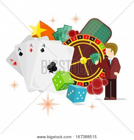 Casino poster with roulette wheel, cards dice money coins chips crap game dealer stars croupier isolated on white. Gambling luck, fortune and bet, risk and leisure, jackpot chance. Vector illustration