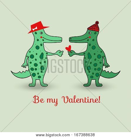 Love crocodiles. Valentine's day. Valentine. Vector illustration