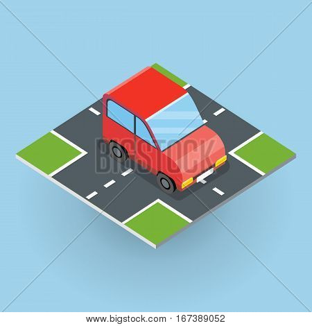Flat 3d isometric red car on isometric part of road . City transport icon. Motor icon. Isometric part of the city infrastructure. Isometric car icon. Isometric automobile. Machine icon