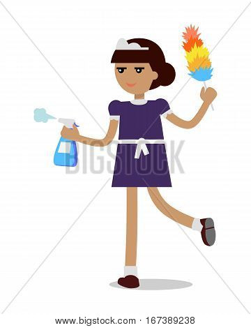 Young girl or woman working in a maid uniform sprinkles water. Cleaning homes and offices. Home cleaning service. Woman in uniform. Vector illustration isolated on white background in flat.