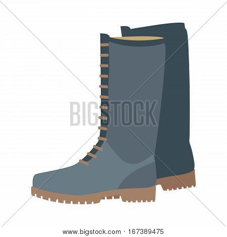 Pair of boots vector illustration. Flat style. Warm leather or suede boots with tall boot-top for autumn or winter seasons. For shoes store ad, wear concept, icons, web design. Isolated on white
