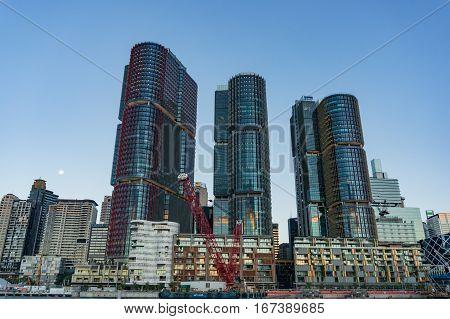 Barangaroo Architecture Complex Against Sydney Cbd On The Background