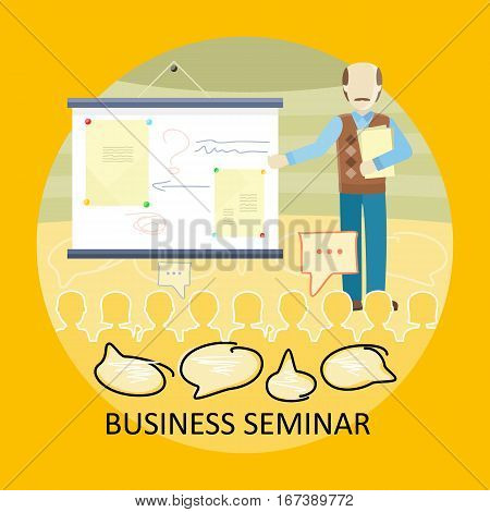Business lecture concept vector. Flat design. Man holding seminar near board with explanatory documents. Certification training in office. Illustration for educational companies, career courses ad.