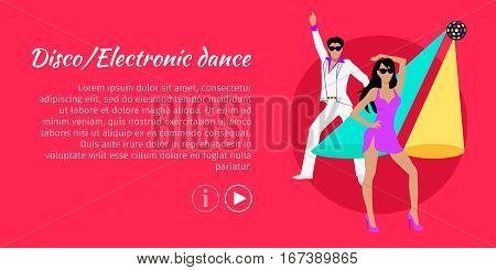 Disco and electronic dance web banner. Electronic dance music, EDM, club music posters. Electronic music genre for nightclubs, raves, and festivals. Produced for playback by disc jockeys. Vector