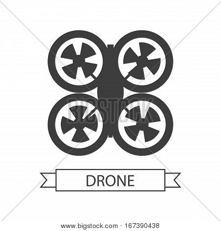 Drone icon isolated on white. Unmanned aerial vehicle or unmanned aircraft system, without a human pilot aboard. Quadcopter sign symbol. Flying for aerial photography or video shooting. Vector