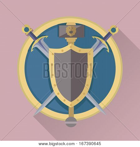 Cartoon game swords with shadow in golden circle. Medieval knife and board. Weapon symbols. War concept. For computer games, mobile appliances. Part of series of game objects in flat design. Vector