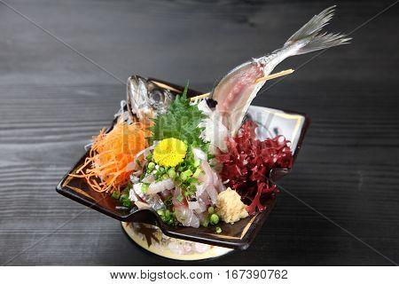 studio shot of Finely Chopped Horse Mackerel Sashimi