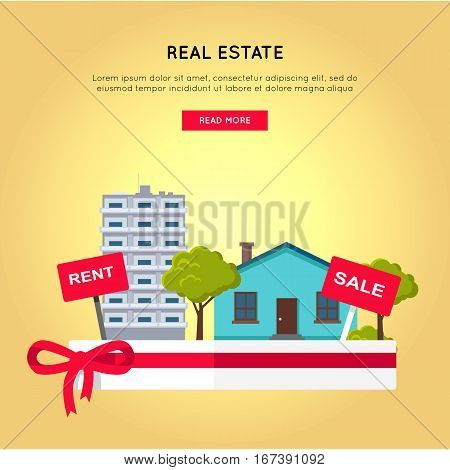 Real estate vector web banner in flat design. Salver with houses, trees, rent and sale signs on it.  Illustration for real estate company web page design, advertising, housing concepts.