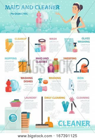 Cleaning infographic concept with household supplies domestic tools and home appliances vector illustration