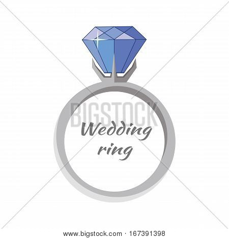 Beautiful wedding ring with blue gemstone. Engagement ring with blue gem. Ring icon in flat. Precious ring with blue gem. Isolated vector illustration on white background.