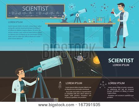 Science colorful horizontal banners with scientists making chemical experiment and looking through telescope vector illustration
