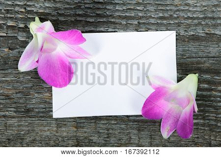 Lilac orchid flowers on old wooden background