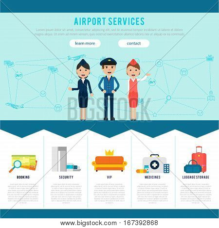 Main airport page template for website with services and advantages of airline company vector illustration