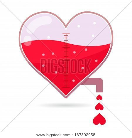 Vector stock of heart shaped water tap dripping small heart icons