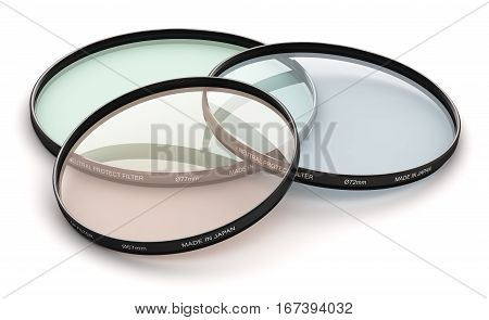 3D render illustration of the group of various diameter neutral density UV polarizer or polarizing protect and circular polarizing type optical glass filters accessory for digital photo camera or video camcorder lens isolated on white background
